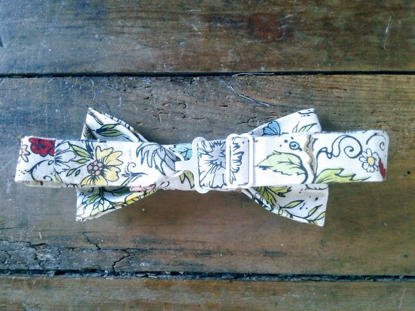 """Charlie"" BowTie in Blue Made from Organic Linen and Fully Adjustable"