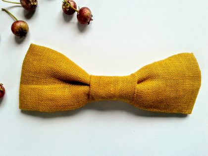 BowTie in Mustard Made from Organic Linen and Fully Adjustable for Baby or Toddler