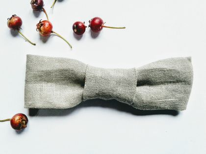 Bow Tie | STONE Linen | For Baby or Toddler | Fully Adjustable | Unisex | Wedding or Birthday