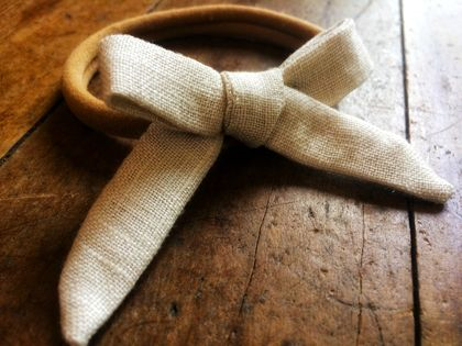 Hand Tied Bow Headband - Ecru