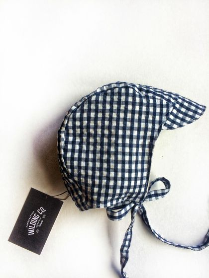 Blue Gingham Organic Cotton Bonnet/Helmet