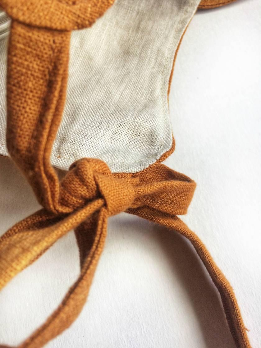Rust Organic Linen Bonnet/Helmet