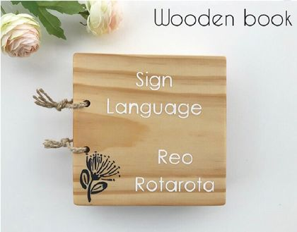 Sign Language Wooden Book