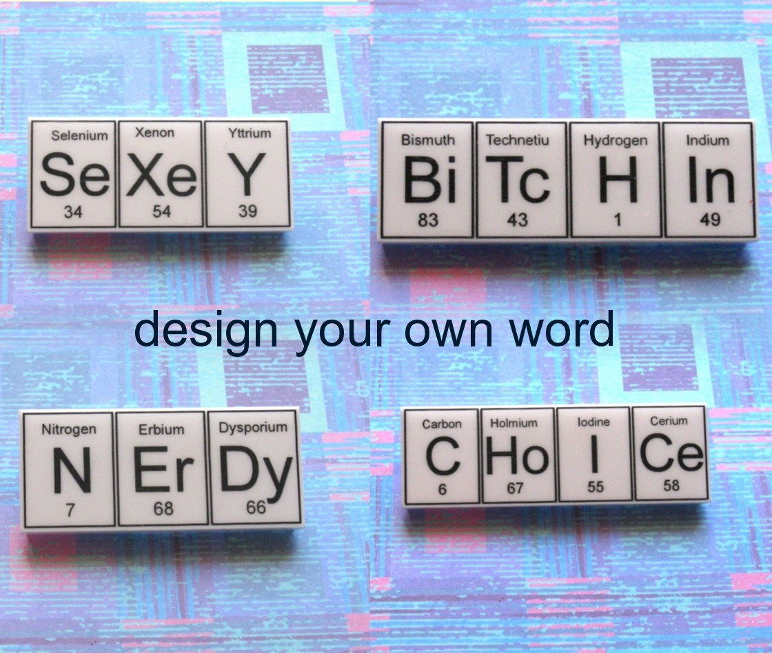 Design your own 4 element word periodic table brooch felt urtaz Choice Image