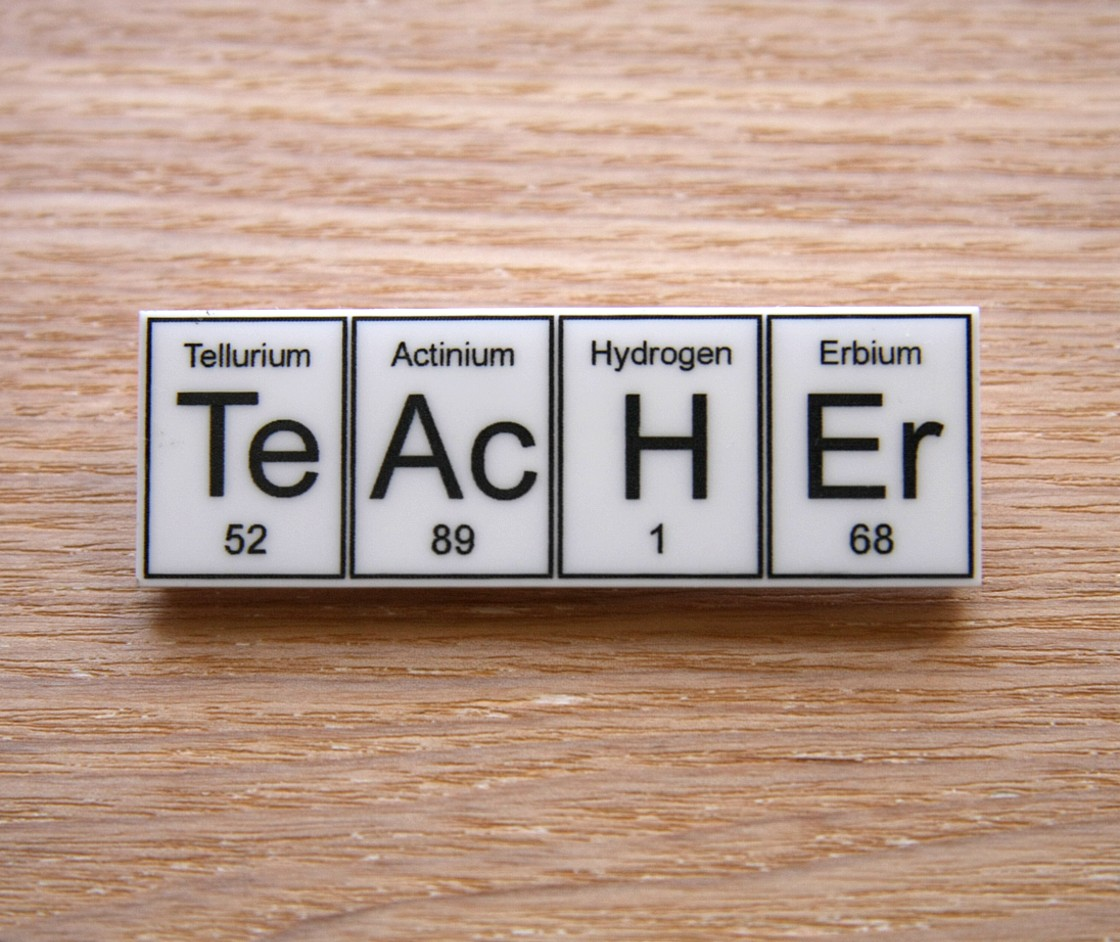 Teacher Periodic Table Element Brooch Choose Black Or