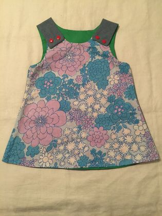 Retro flowers - Hello Kitty Dress - Pinny - Size 12mths - 18mths