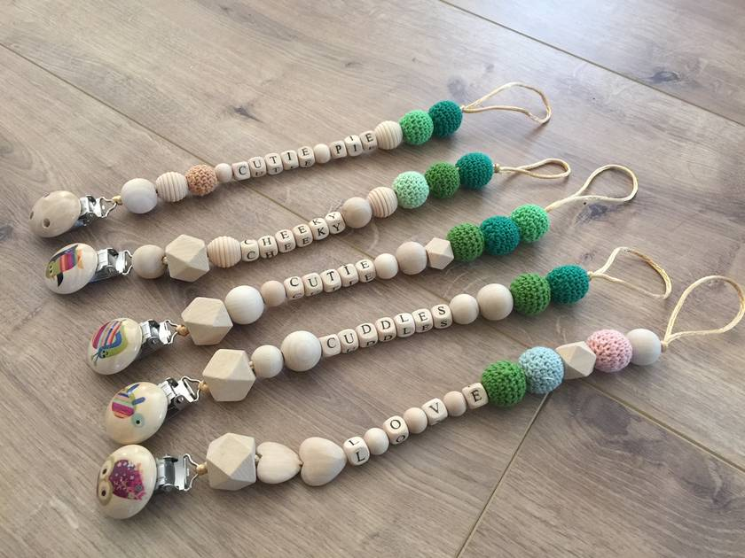 Organic,Wooden, Natural Pacifier Clips