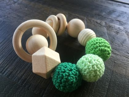 Organic,Wooden, Natural Teether Rattle Plain