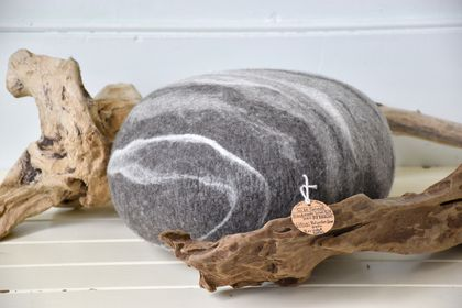 Felt stone cushion - NZ Merino wool