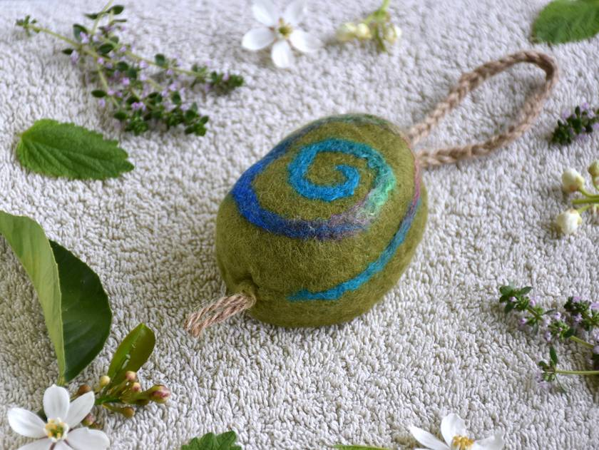 Felted Soap on a Rope - Eco Shower & Shampoo Bar