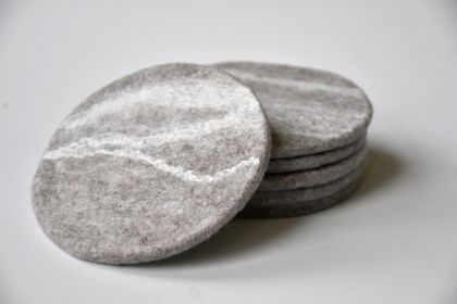 Grey marbled Felt Coasters - Set of 6