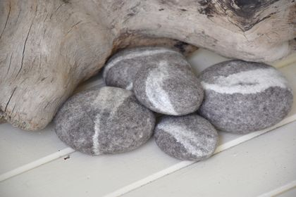Felt River Stones - 100% NZ Wool - Set of 5