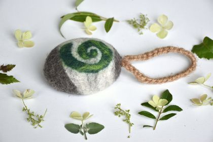 "Felted Soap on a Rope - Eco Shower Bar ""Koru"" with Ylangylang essential oil"