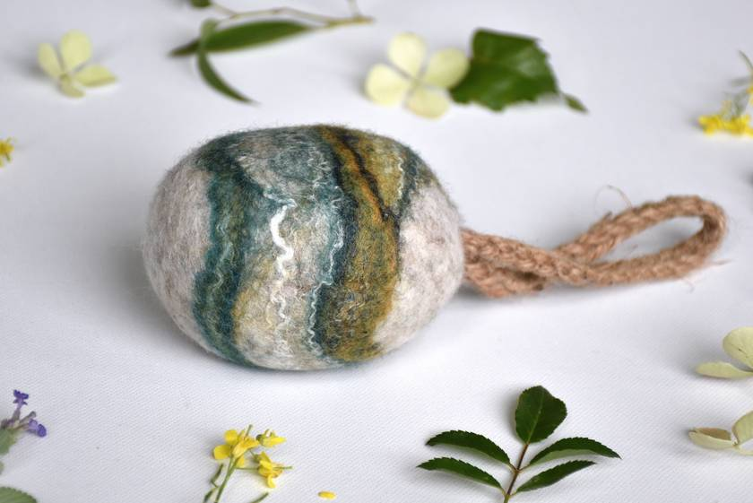 Felted  XL Shampoo Bar - Soap on a Rope