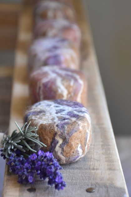 Felted Lavender Soap - SET of 2 bars with NZ Alpaca/Merino & Silk Coat