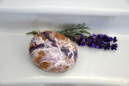 Felted Lavender Soap - with NZ Alpaca/Merino & Silk Coat