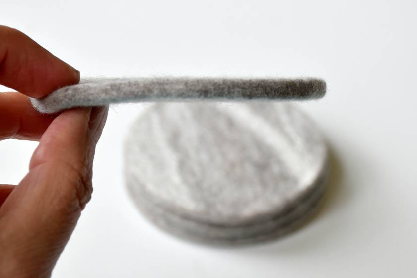 Grey marbled Felt Coasters - Set of 4