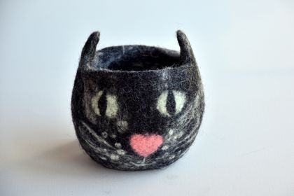 Cat Felt  Planter / Bowl