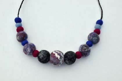 Felted Wool Bead Necklace
