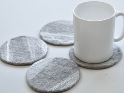 Grey marbled Felt Coasters - Set of 4