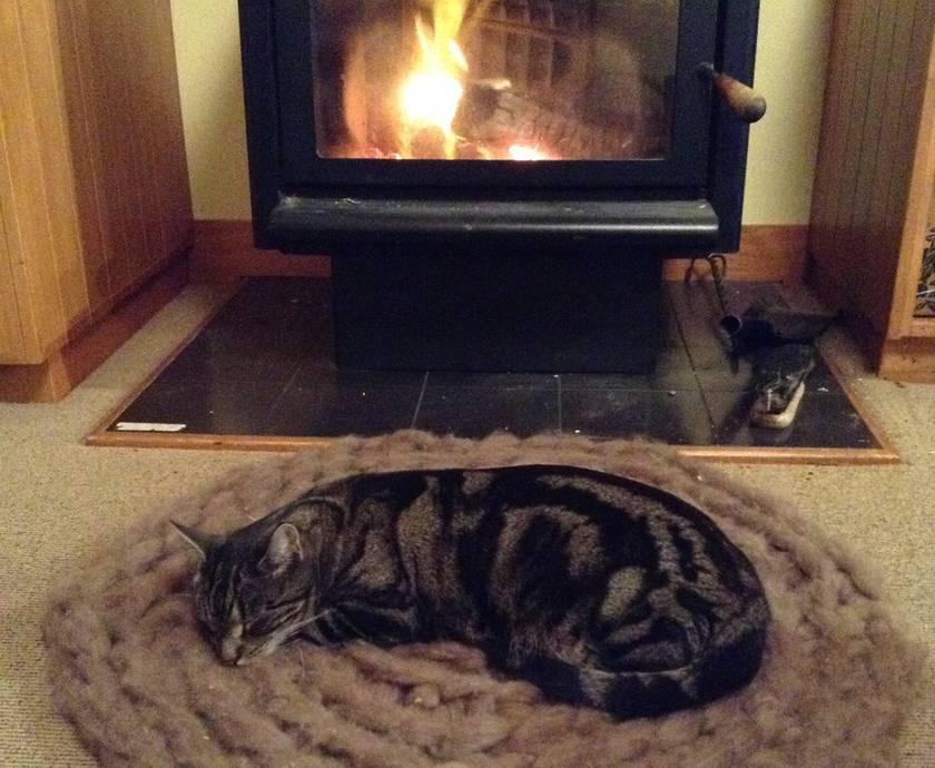 Custom made cosy woollen rug