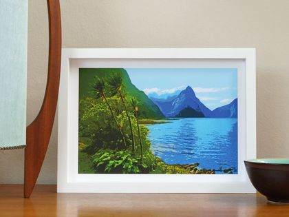 Mitre Peak and Milford Sound - Art Print (A4)