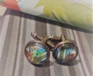 Handmade 'Autumn Bouquet' cufflinks in turquoise plaid #1 - Miss Match by Copper Catkin