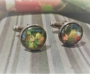 Handmade 'Autumn Bouquet' cufflinks in turquoise plaid #2 - Miss Match by Copper Catkin