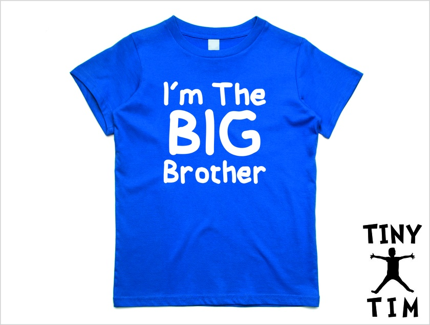 "Named - Custom Printed  ""I'm The Big Brother""  T-Shirt For 2, 3, 4, 5 & 6 Year Olds, With The Child's Name On The Back"
