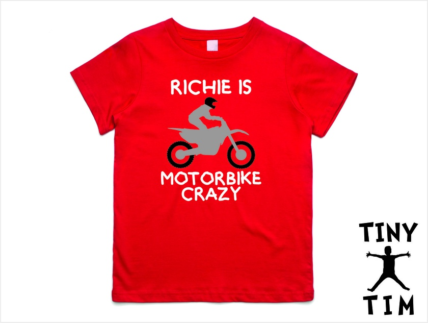 """Named """"Motorbike Crazy"""" T-Shirt For 2, 3, 4, 5 & 6 Year Olds. Custom Printed T-Shirt."""