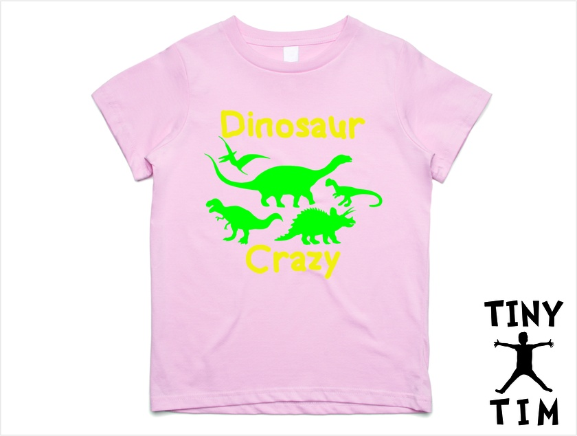 """Dinosaur Crazy"" T-Shirt For 2, 3, 4, 5 & 6 Year Olds By Tiny Tim. Custom Printed T-Shirt."