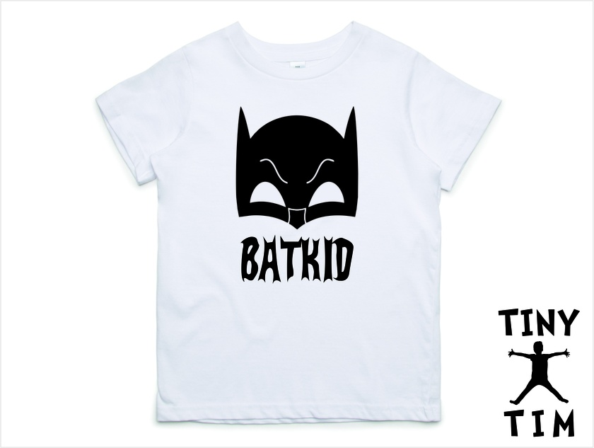 """Custom Printed """"Bat Kid"""" T-Shirt For 2, 3, 4, 5 & 6 Year Olds, With The Child's Name On The Back."""