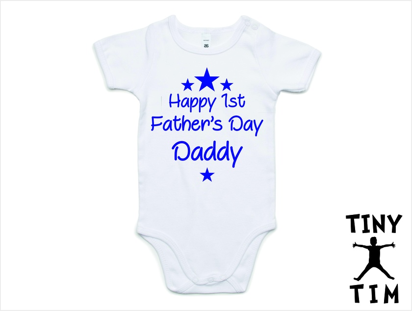 """Boy Custom Printed """"Happy First Father's Day"""" Baby Body Suit - 5 Sizes & 5 Colours Available - Fathers Day Gift 