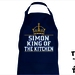 Named - King Of The Kitchen Apron - Available In 14 Colours - Custom Printed.