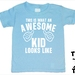 "Named -  ""This Is What An Awesome Kid Looks Like""  T-Shirt For 2, 3, 4, 5 & 6 Year Olds, With The Child's Name On The Back. Custom Printed. By Tiny Tim."