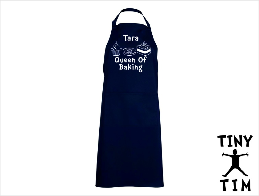 Named - Queen Of Baking Apron - Available In 14 Colours - Custom Printed.