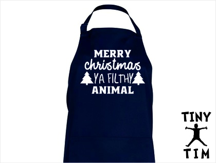Merry Christmas Ya Filthy Animal Apron - Available In 14 Colours - Custom Printed.