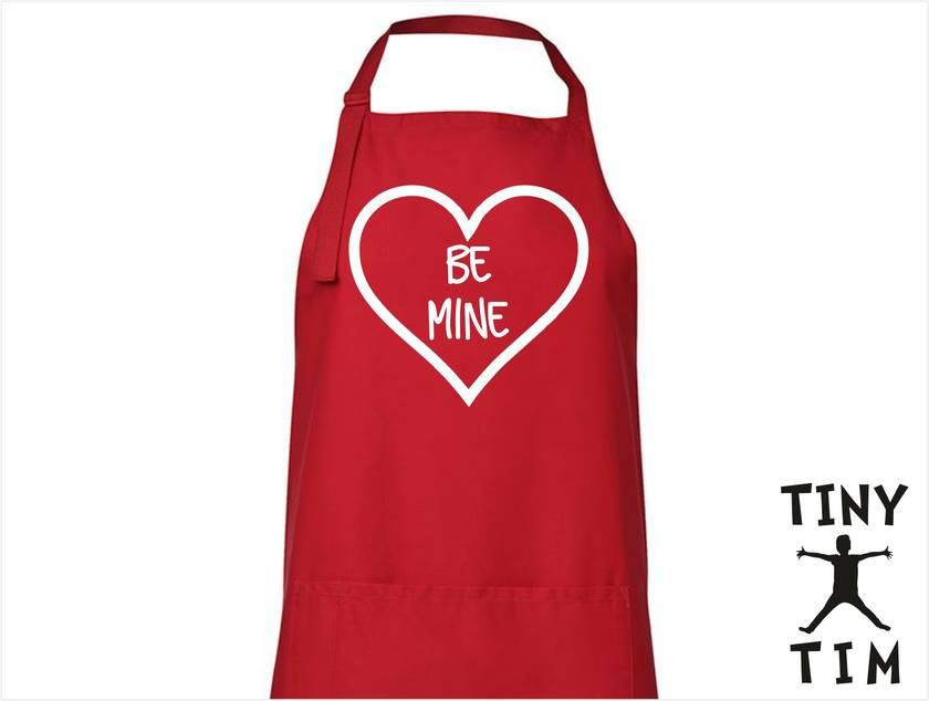 BE MINE Heart Apron - Available In 14 Colours - Custom Printed/Custom Made - By Tiny Tim. Valentines Day Gift