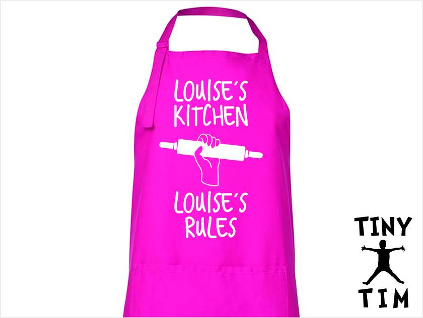 Named - My Kitchen My Rules Apron - Available In 14 Colours - Custom Printed/Custom Made - By Tiny Tim.
