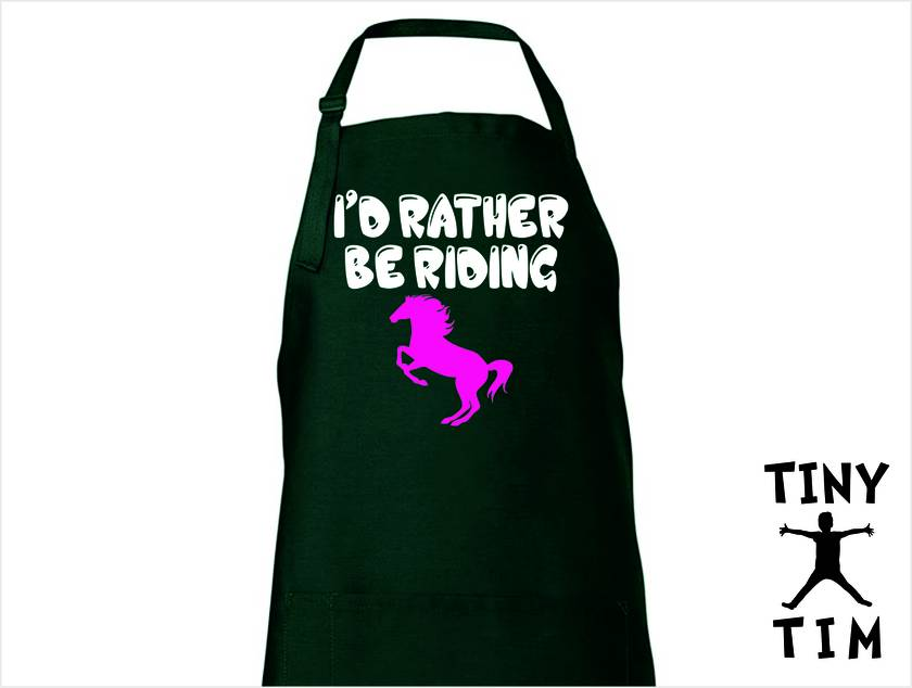 I'D Rather Be Riding - Kitchen Apron - Available In 14 Colours - Custom Printed.