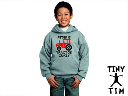 Named - Tractor Crazy - Youth Hoodie - Custom Printed Hoodie - Comes In 6 Colours