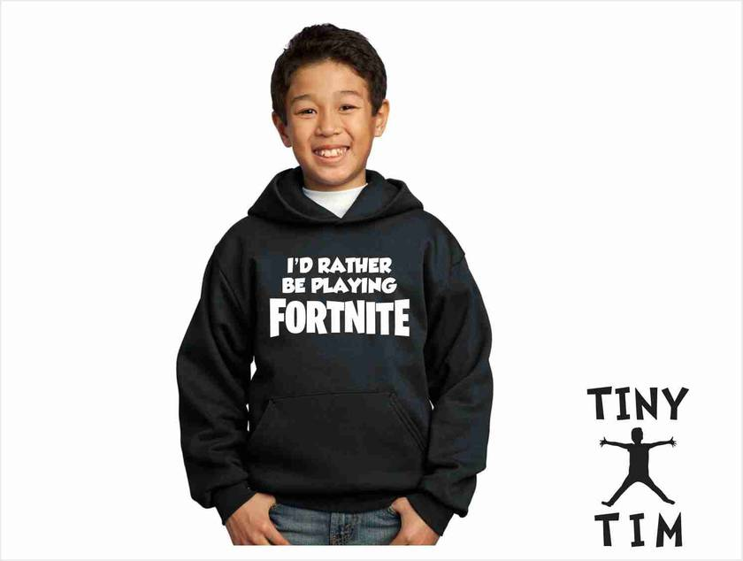 "Named ""I'D Rather Be Playing Fortnite"" Gaming Youth Hoodie - Custom Printed - Comes In 6 Colours."