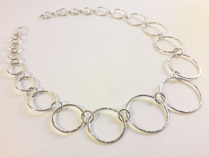 Sterling silver round hoop necklace