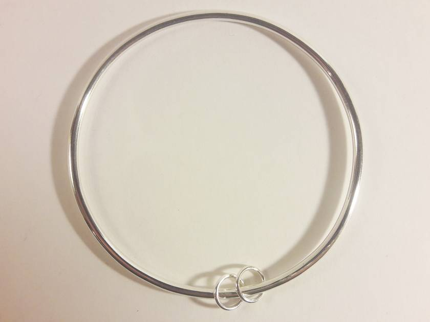 Sterling Silver bangle with 2 rings