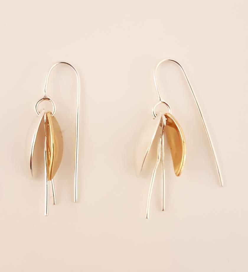 Silver / Brass Kowhai flower drop earrings