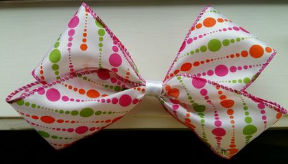 Rainbow dots hair bow