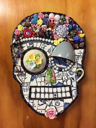 MIXED MEDIA MOSAIC SKULL - FLORA