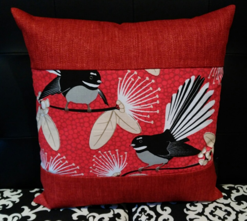 Red Fantail Cushion Cover with Red Boarder