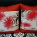 Cream Pohutukawa Cushion Covers with Red Boarder Set of 2 covers