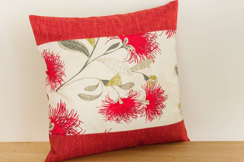 Cream Pohutukawa Cushion Cover with Red Boarder NZ MADE